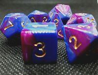dice4friends RPG Würfel Set 7 Poly DND HD Dice blended dark blue purple lila