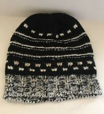 bbba089793b JOE BOXER Black and White Knit Winter Hat Beanie with Stones NEW