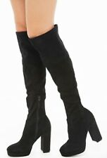 forever 21 Knee High Faux Suede Block Heel Boots Size 9 New