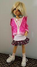 New listing Pink Polka Dot 5 pc outfit Hoody Skirt Tee Shoes Socks Kaye Wiggs Msd Bjd Doll