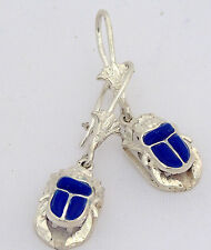 Scarab .925 Silver Earrings inlaid with Lapis Lazuli (Hallmarked)