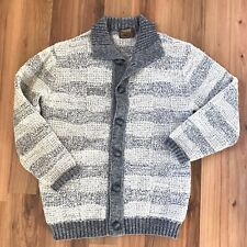 Vintage Tundra Sweater L Cardigan Canada 100% Wool Gray White Buttons Chunky