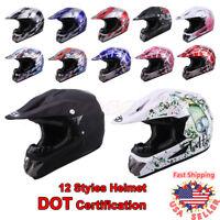 Adult Youth Unisex Motocross ATV Dirt Bike Snowmobile Off-Road Saftey Helmet DOT