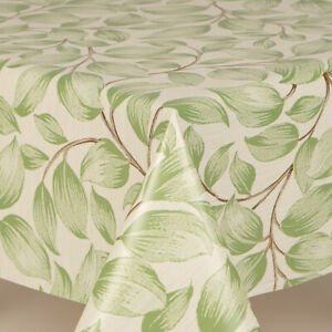 Traditional Beige Floral Green Leaves Plastic Oil Vinyl Table Cloth Classic Look