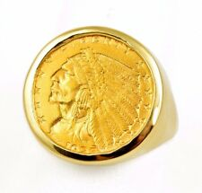 1925D US $2.5 Indian Head Quarter Eagle .900 Gold Coin in 14k Round Ring Bezel