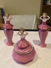 New ListingSigned Bavaria Germany Pink Figural Porcelain Set Powder Jar 2 Perfume Bottle