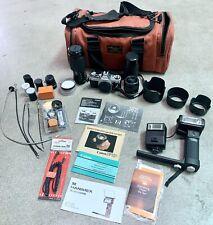 Canon Ae-1 Program 35mm Manual Slr Film Camera w/ 3 Lenses & Accessories Bundle