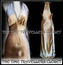 KATE MOSS TOPSHOP GOLD SATIN BIAS MAXI DRESS 20s 30s HOLLYWOOD GLAM UK 6 8
