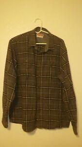 WRANGLER Plaid Heavy Flannel Button Up XL Plaid Grey