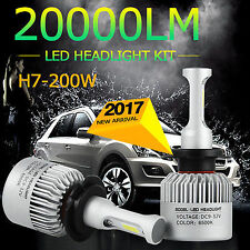 2x 200W H7 Led Headlight 20000LM Cree Bulbs 6500K S2 White Beam Car JEEP Lamp
