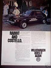 1979 Rabbit & Costello VW Volkswagen vintage car ad