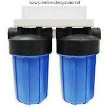 "Dual Big Blue Water KDF85/GAC and Sediment Filters System w/Bracket 4.5 x 10"""