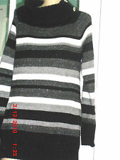 NWT WHITE HOUSE BLACK MARKET BLACK ,WHITE & SILVER  LONG SLEEVE PULLOVER SIZE XL