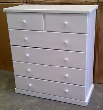 6 Drawer Solid Pine Tallboy in White