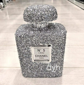 LARGE SILVER CRUSHED DIAMOND SPARKLY PERFUME BOTTLE ORNAMENT, SHELF SITTER✨
