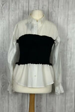 SUREVE Size L (China) Blouse Ribbed Knit Middle Steampunk White Black With Tags