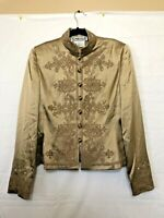 Carlisle Gold Women's Size 8 Long Sleeve Floral Embroidered ButtonUp Silk Jacket