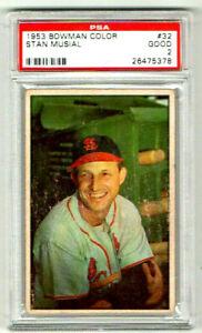 STAN MUSIAL 1953 BOWMAN COLOR CARD PSA HOF CARDINALS GREAT CARD