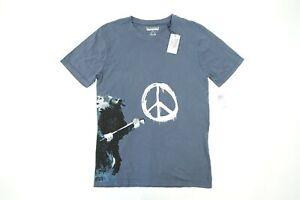 ELEVEN PARIS Brandalised Gris Bleu Rat Rock Star Paix Drôle Humor T-Shirt Nwt