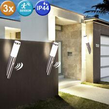 3er Set Außen Leuchten Terrasse Edelstahl Wand Lampen Garage Bewegungsmelder