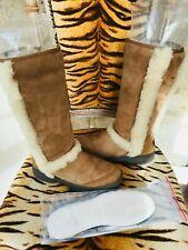 UGG AUSTRALIA SUNBURST TAN SHEEPSKIN  SUEDE BOOTS SIZE 5 + NEW SOLES