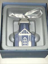 Wedgwood Christmas Blue Church Ornament New