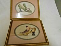 Home Interiors Pink Oval Framed Victorian Shoes in Gold Frames (NICE)!!