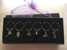 6 Black Harry Potter Theme Wine Glass Charms Birthday Xmas **Gift Box Available*