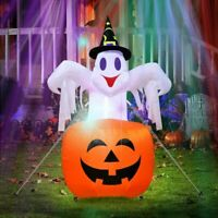 Halloween Inflatable Blow Up Ghost Pumpkins with LED Lights Yard Decoration US