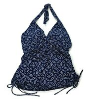 Lands End Tankini Swim Top Womens Size 6D Navy Blue Halter Ruched Swimsuit