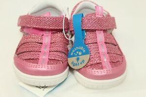 Surprize by Stride Rite Size 4 Toddler Light Up Pink Glitter Fisherman Sandals