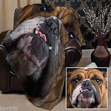 Large Warm Sofa Fleece Throw British Bulldog Face Design Blanket Great Gift Idea