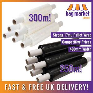 Strong 400mm x 17mu Clear & Black Pallet Wrap | 250m/300m | Stretch/Cling/Shrink