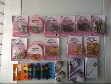 SAFETY PINS  - NICKLE & BRASS - CHOICE OF SIZES