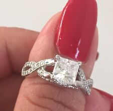 1.75 Carat 14k Solid White Gold Princess Cut Engagement Ring  Size 4 5 6 7 8 9