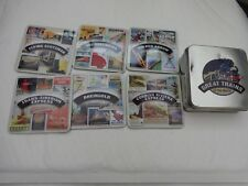ATLAS EDITIONS GREAT TRAINS OF THE WORLD DRINK COASTERS SET OF 6 IN TIN