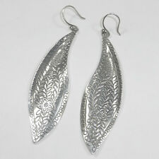 Silpada 925 Sterling Silver Freestyle Earrings W2281 Etched Engraved Leaf Floral