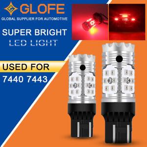 2x RED 7443 7440 No Hyper Flash Brake Tail Light/Parking LED Light Bulbs 12V Car