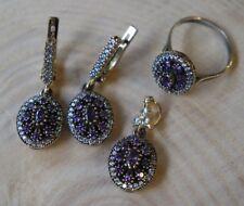 925 Sterling Silver Handmade Gemstone Turkish Amethyst Ladies Set