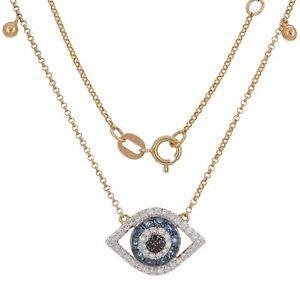 14k Rose Gold 0.30ctw Sapphire, Black & White Diamond Evil Eye Pendant Necklace