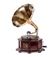 Grammofono HIS MASTER VOICE in legno ed ottone FUNZIONA ottagonale