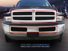 Fits 94-01 Dodge Ram Pickup Truck Black Billet Grille Grill Combo