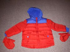12-18 Months Boys WINTER jacket Thick Padded Hood Mits Red Blue