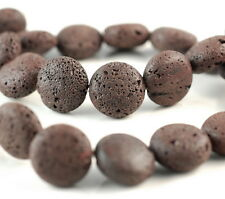 16MM COFFEE VOLCANIC LAVA GEMSTONE GRADE A FLAT ROUND BUTTON LOOSE BEADS 16""