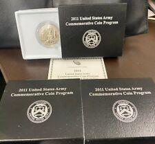 3 COINS , ORIGINAL BOXES 2011-D CLAD HALF DOLLARS, WITH COA , ARMY COMMEMORATIVE