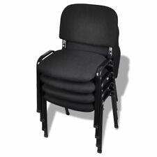 vidaXL 4x Bureaustoel Stapelbaar Stof Zwart Kantoorstoel Stoel Werkstoel