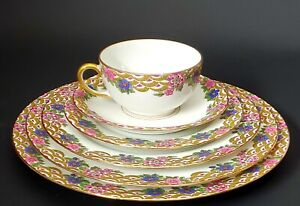 POUYAT  LIMOGES CHINA POY4 PINK & BLUE FLOWERS 6PC PLACE SETTING