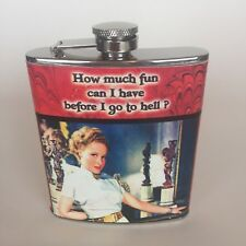 """Flask and Funnel Set """"How much fun can I have before I go to Hell?"""" Stainless"""