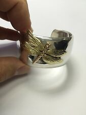 Authentic NOS Classic Tiffany & Co Dragonfly 18k Yellow Rose Gold Sterling Cuff