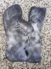 THE KISS Modern art lover part faces pewter plaster wall hanging decor plaque